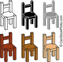 3D simple wooden chair black symbol