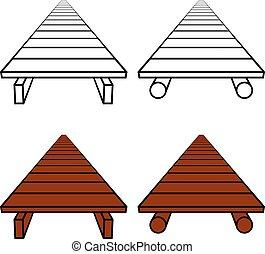 3D simple wooden footbridge black symbol
