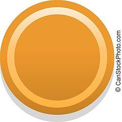 3d, sinaasappel, leeg, pictogram, in, plat, stijl