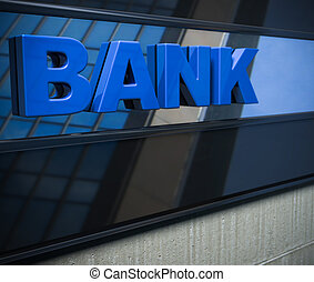 3d, sinal banco, ligado, um, fachada