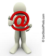 3d, sinal, email, homem