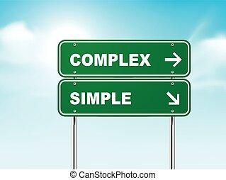 3d, sinal estrada, com, complexo, e, simples