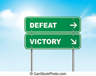 3d, sinal estrada, com, derrota, e, vitória