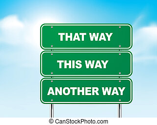 3d, sinal estrada, com, diferente, direções