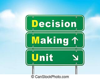 3d, sinal estrada, com, fazer decisão, unidade