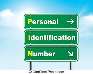 3d, sinal estrada, com, número identificação pessoal