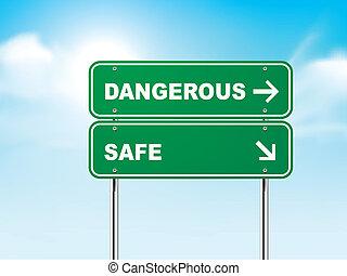3d, sinal estrada, com, perigosa, e, cofre