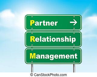 3d, sinal estrada, com, sócio, relacionamento, gerência