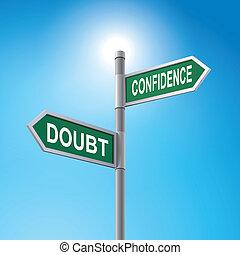 3d, sinal estrada, dizendo, dúvida, e, confiança
