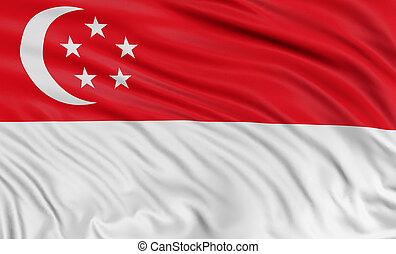 3D Singapore flag with fabric surface texture. White...