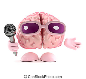 3d Singing brain - 3d render of a brain with a microphone