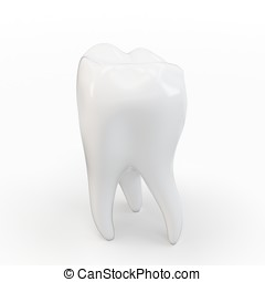 3d single tooth white on white background