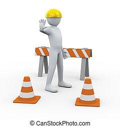 3d, site construction, homme