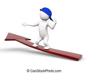 3d, skateboard, richtingwijzer, man