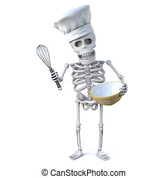 3d Skeleton chef mixes a cake in his bowl with his whisk -...