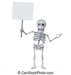 3d Skeleton has a blank placard
