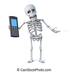 3d Skeleton has a mobile phone