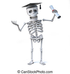 3d Skeleton has graduated with a diploma - 3d render of a...