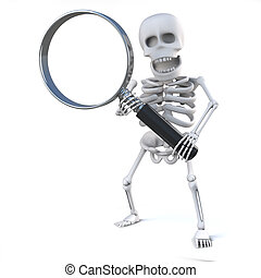 3d Skeleton looks through the magnifying glass - 3d render...