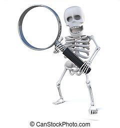 3d Skeleton looks through the magnifying glass - 3d render...
