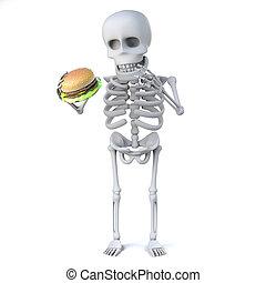 3d render of a skeleton holding a beef burger