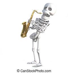 3d Skeleton plays jazz on a saxophone - 3d render of a...