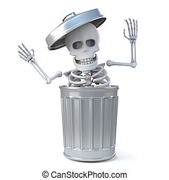 3d Skeleton was in the trash can all the time!