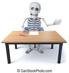 3d Skeleton waves from his desk