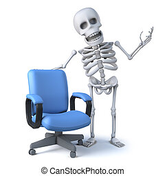 3d Skeleton with an empty office chair