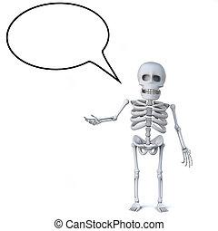 3d Skeleton with empty speech bubble