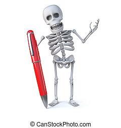 3d Skeleton writes with a pen