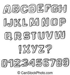 3D sketch font. Vector alphabet.