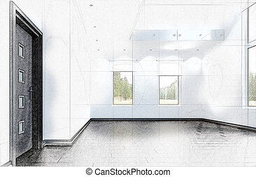 3D sketch of an empty room