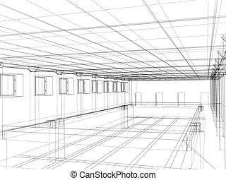 3d sketch of an interior