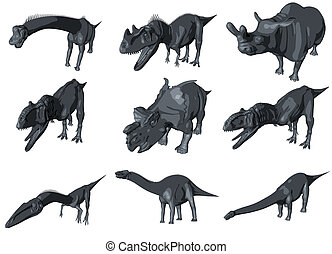 3d sketch render of a  dinosaur collection