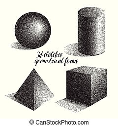 3d sketches of geometrical forms