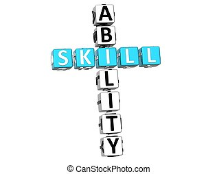 3D Skill Ability Crossword on white background