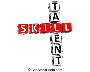 3D Skill Talent Crossword on white background