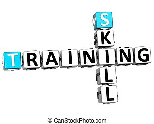 3D Skill Training Crossword on white background