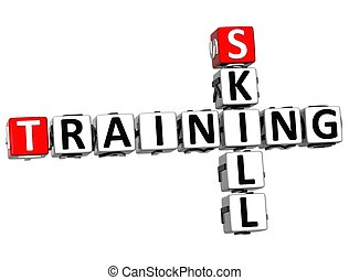 3D Skill Training Crossword on white background