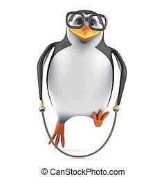 3d Skipping rope penguin
