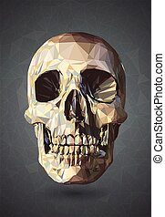 3D Skull low poly vector with wireframe on gray background