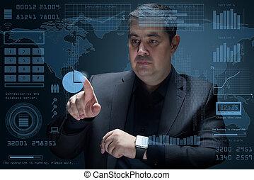 (3d, skutečný, projection), rozhraní, obchodník, díla