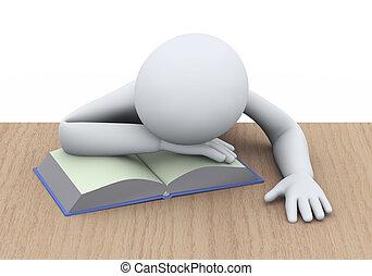 3d, slapende, student, met, boek