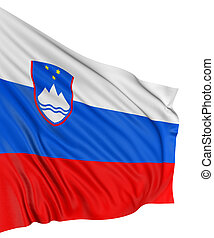 3D Slovene flag with fabric surface texture. White ...