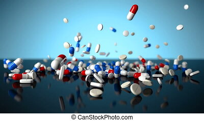 3D slow motion footage of colorful medicine pills falling on...