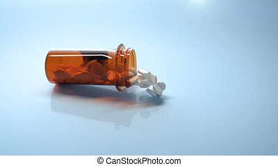3D slow motion footage of medical pills falling out of...