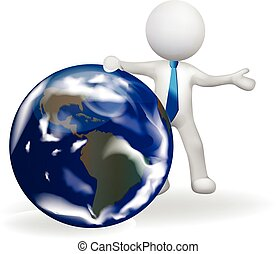 3d small business person with globe map
