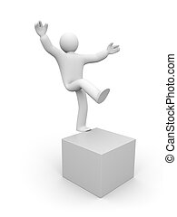 3d small man balancing on one leg - Conceptual image....
