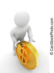3d small man with gold dollar coin